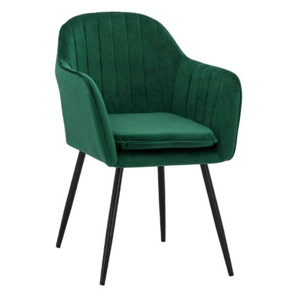 Кресло Сойер зелено кадифе с черни крака