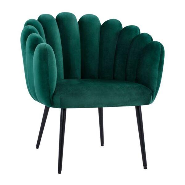 Кресло Вивиан зелено кадифе с черни крака