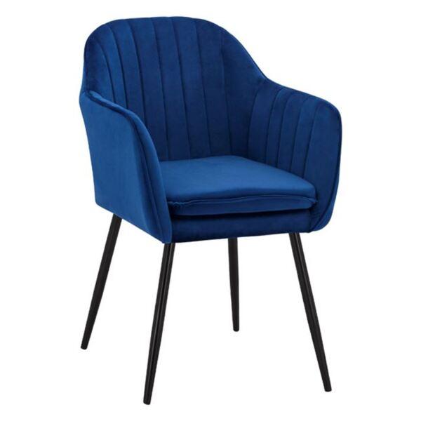 Кресло Сойер синьо кадифе с черни крака