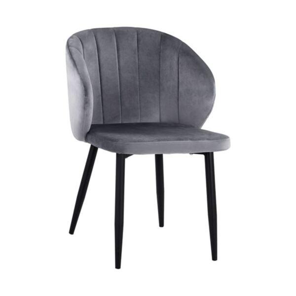 Кресло Дуейн сиво кадифе с метална рамка