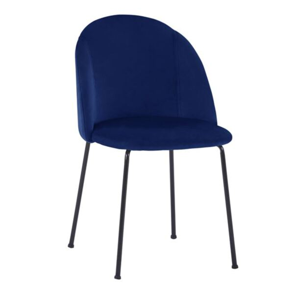 Стол Клара синьо кадифе с черни метални крака