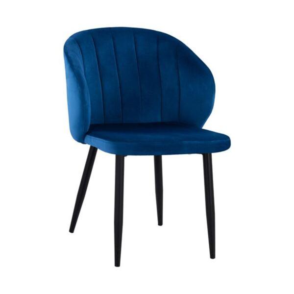 Кресло Дуейн синьо кадифе с метална рамка