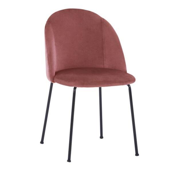 Стол Клара розово кадифе с черни метални крака