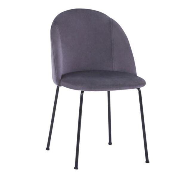 Стол Клара сиво кадифеите с черни метални крака