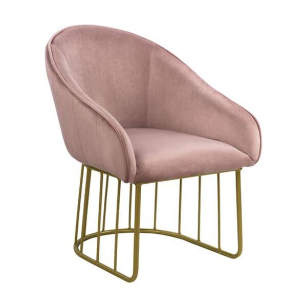 Кресло Коди - розово кадифе със златна основа