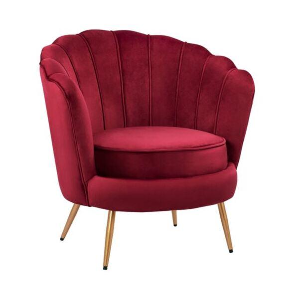 Кресло Coquille кадифе от червено бургунди