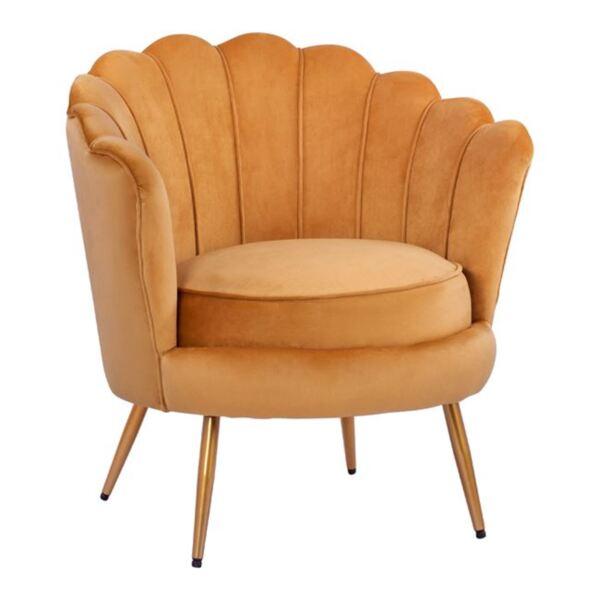 Кресло Coquille златно кадифе