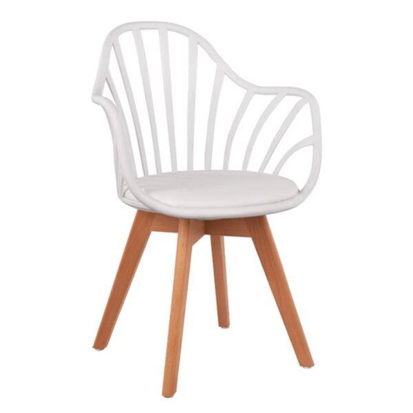 Кресло Беки с дървени крака и бяла седалка