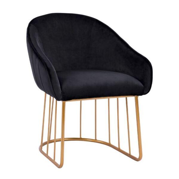 Кресло Коди черно кадифе със златна основа