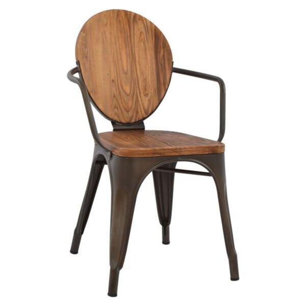 Метално кресло Илияна винтидж с дървени елементи