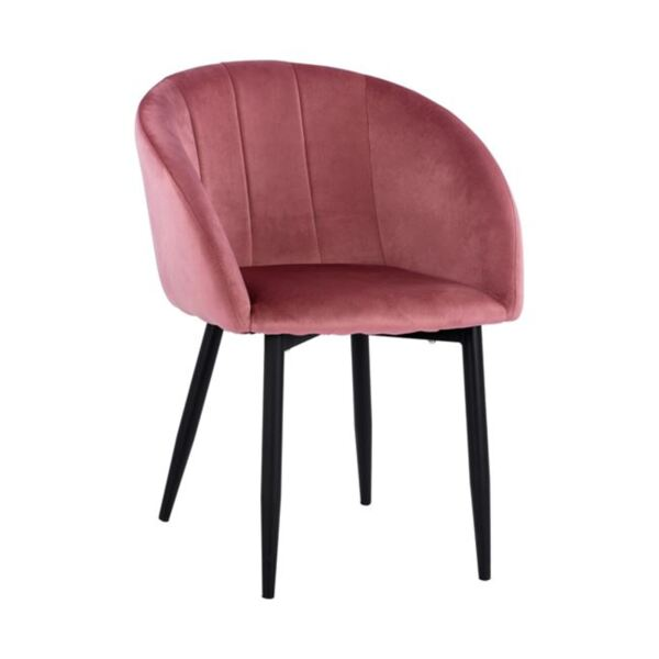 Кресло Беси в розов цвят с метална рамка