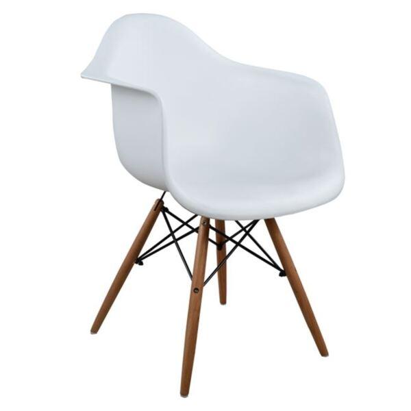 Стол с дървени крака и бяла седалка Мирто