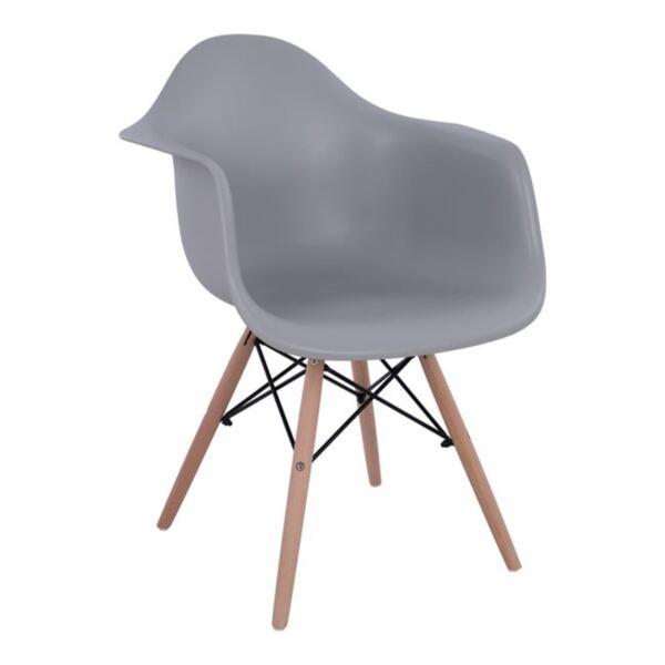 Стол с дървени крака и сива седалка Мирто