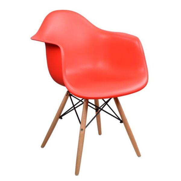 Стол с дървени крака и червена седалка Мирто