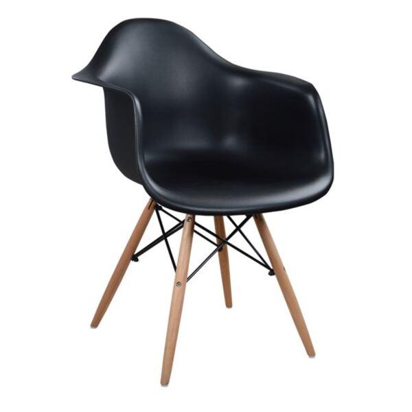 Стол с дървени крака и черна седалка Мирто
