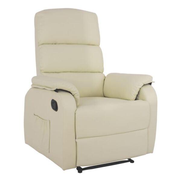 Кресло Comfort с Релакс механизъм цвят крем PU