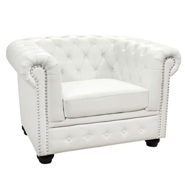 Кресло Chesterfield бяла кожа