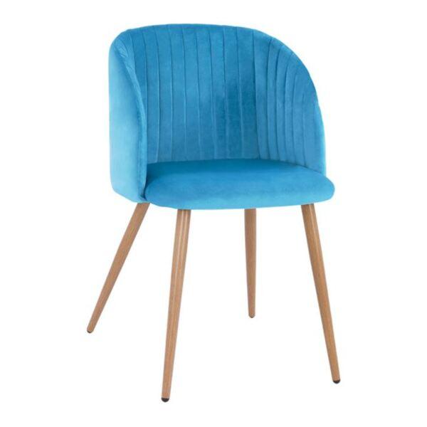 Кресло Лия с тюркоазено кадифе с метални крака