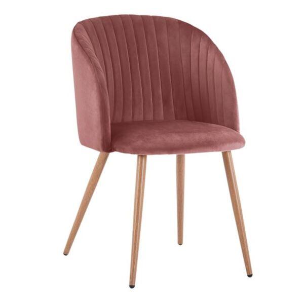Кресло Лия в розово кадифе с метални крака