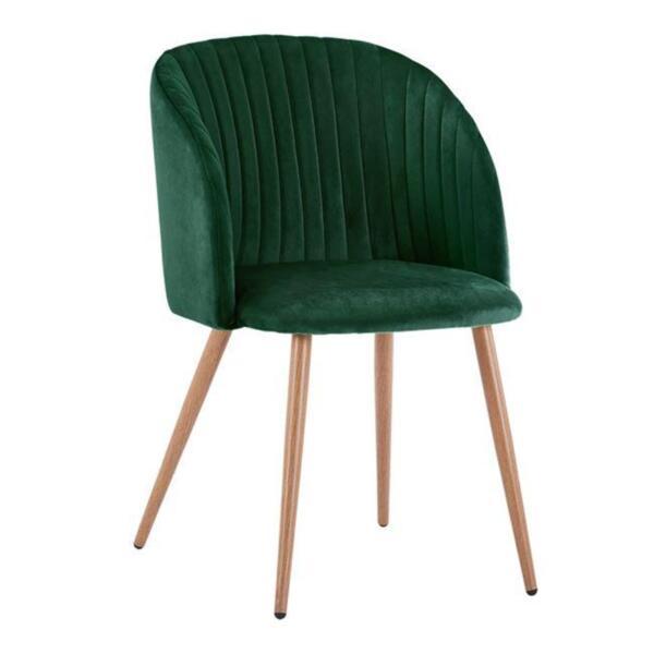 Кресло Лия в зелено кадифе и с метални крака