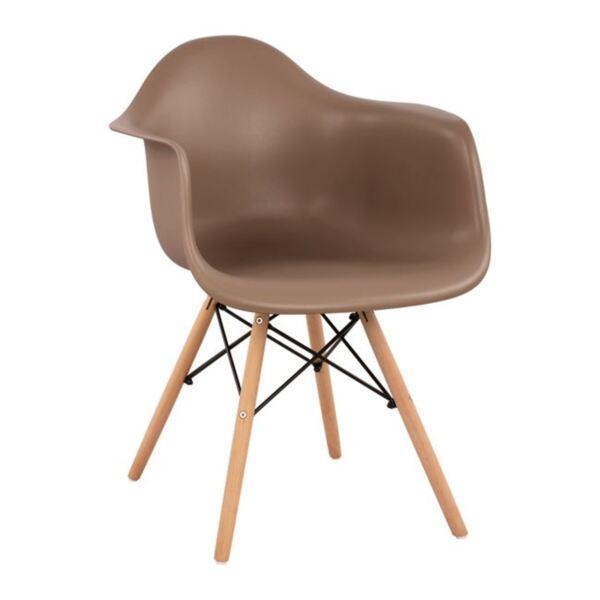 Стол с дървени крака и седалка в капучино Мирто