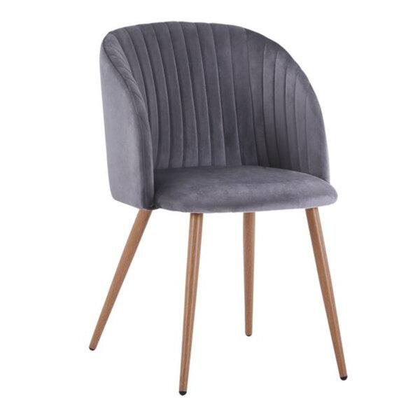 Кресло Лия - сиво кадифе с метални крака
