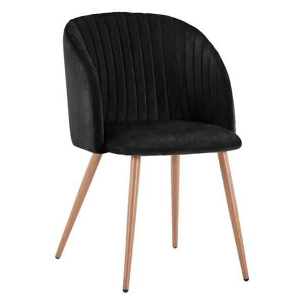 Кресло Лия с черно кадифе и метални крака