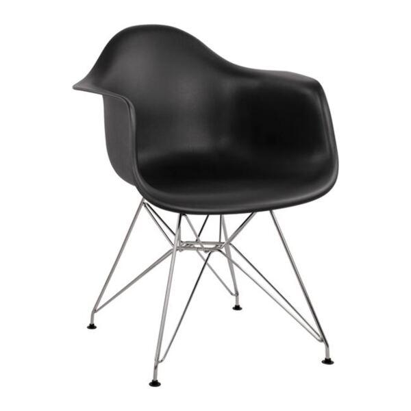 Стол с метални крака и черна седалка Мирто