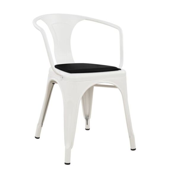 Метално кресло Мелита- Бяло с черна седалка