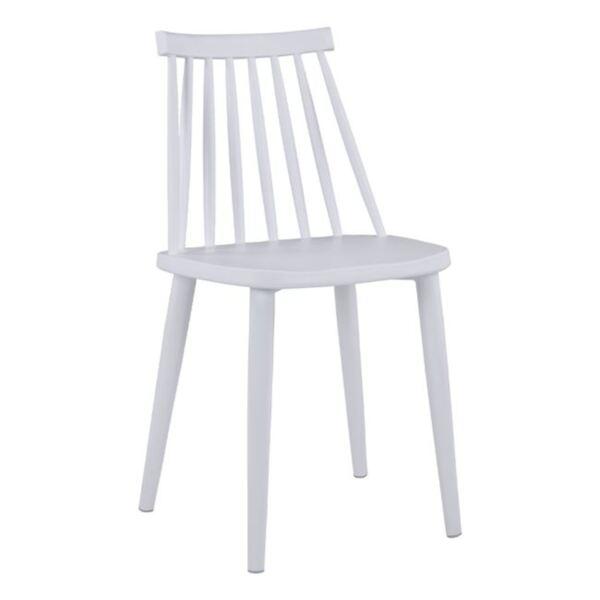 Трапезен стол Ванеса -бял с метални крака