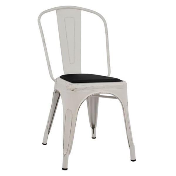 Стол Мелита бял с черна седалка от PU