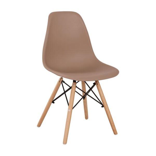 Стол с дървени крака и седалка Twist PP Капучино