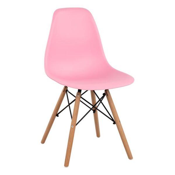 Стол с дървени крака и седалка Twist PP - розов