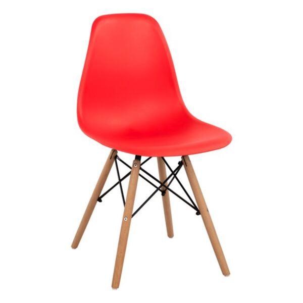 Стол с дървени крака и седалка Twist PP - червен