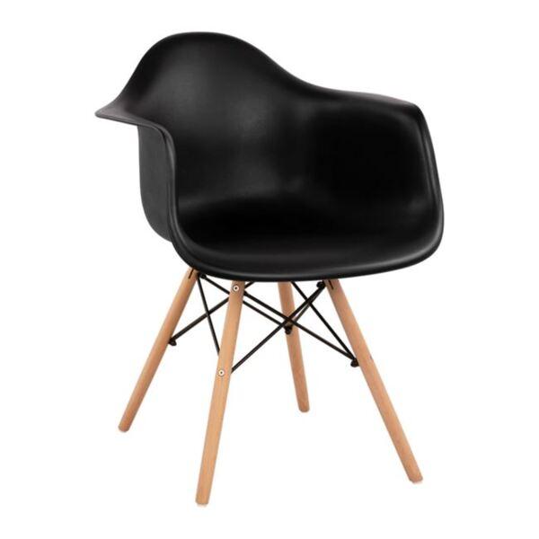 Стол с дървени крака и седалка в черно Мирто