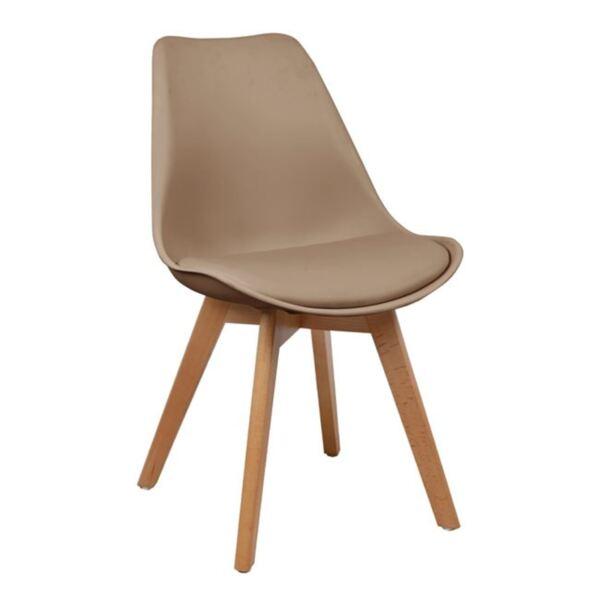 Трапезен Стол с дървени крака и седалка Капучино