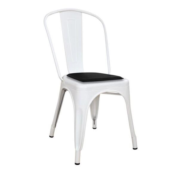 Метален стол Мелита с бял цвят и черна седалка