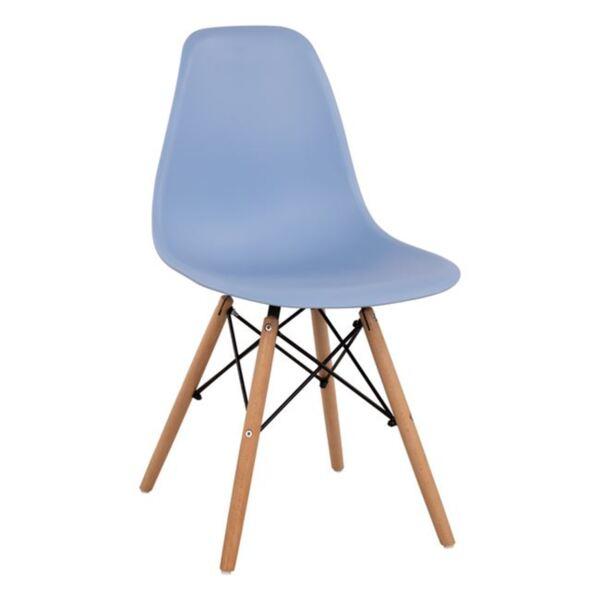Стол с дървени крака и седалка Twist PP в светлосин цвят
