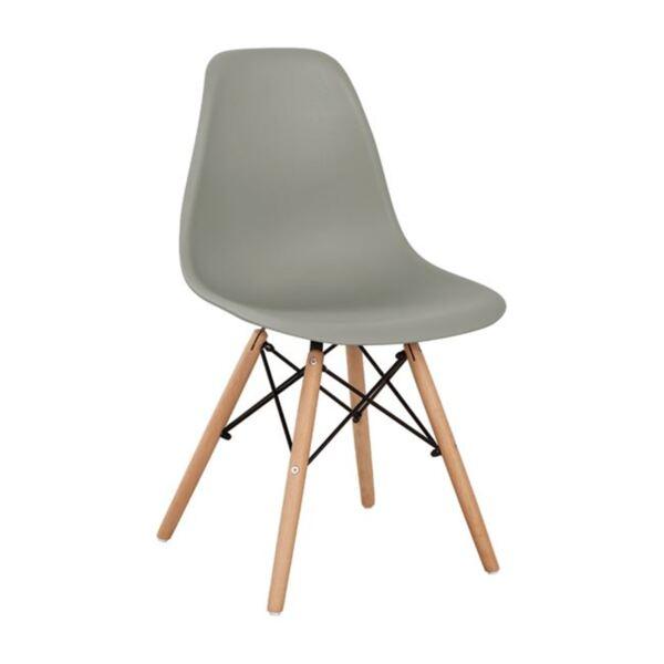 Стол с дървени крака и седалка Twist PP - сив