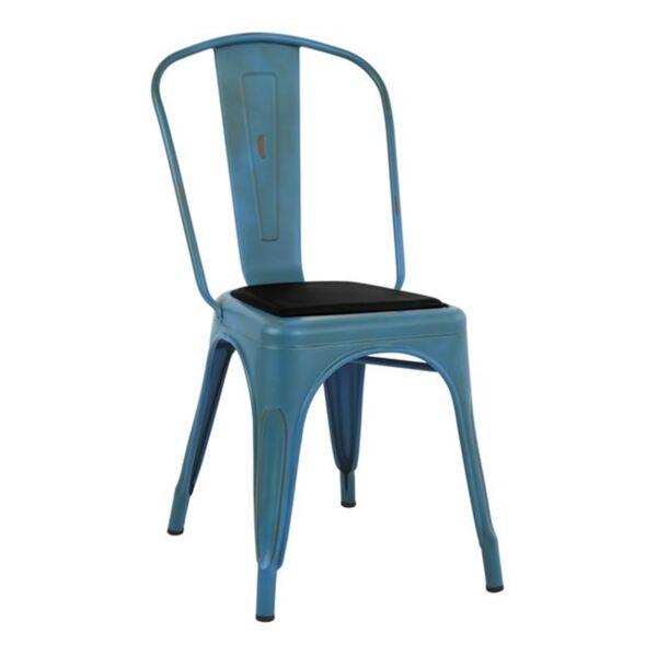 Стол Мелита - син с черна седалка