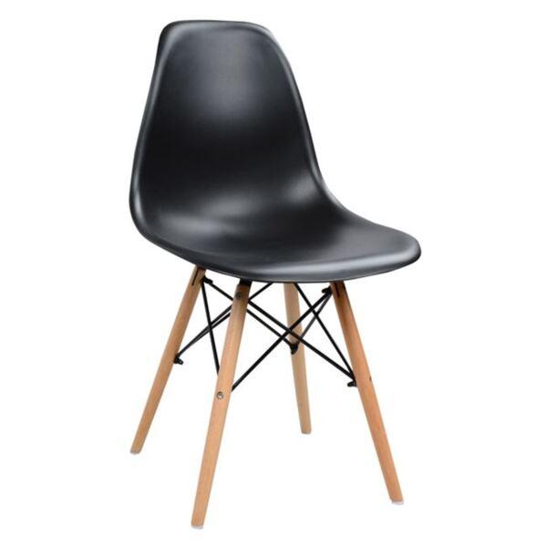 Стол с дървени крака и седалка Twist PP - черен