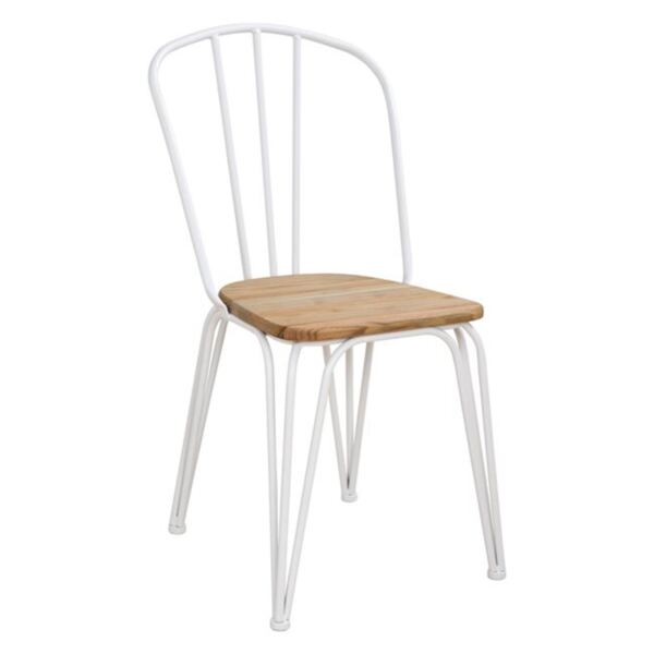 Метален стол с дървена седалка в бяло