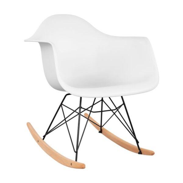 стол с бяла седалка с черна рамка