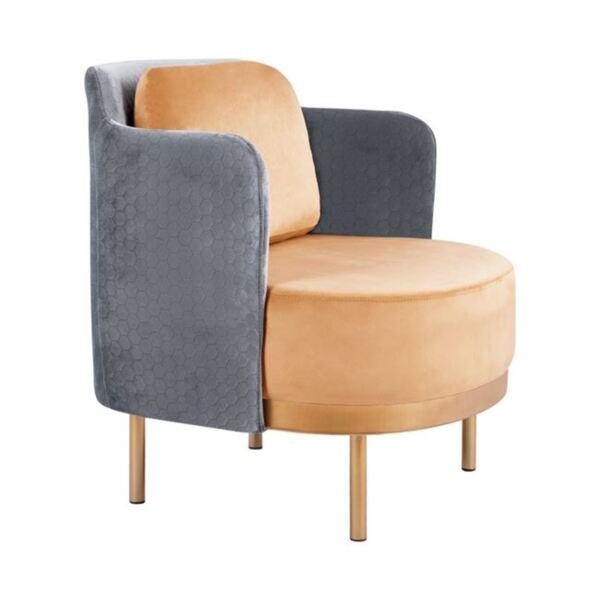 Кресло Рагна - сиво и златисто кадифе със златни крака