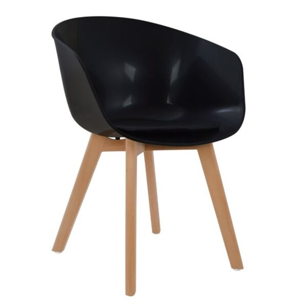 Черен стол с полипропиленова седалка Портос