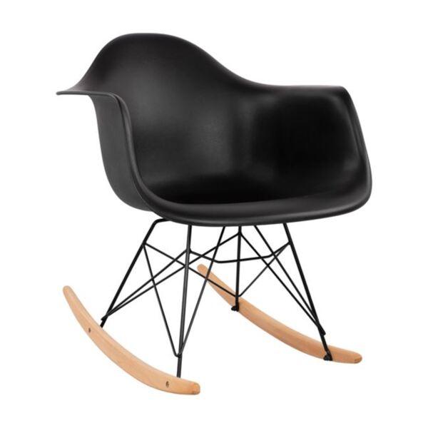 стол с черна седалка Мирто с черна рамка