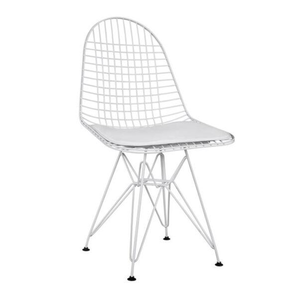 Метален стол с бяла кожена възглавница