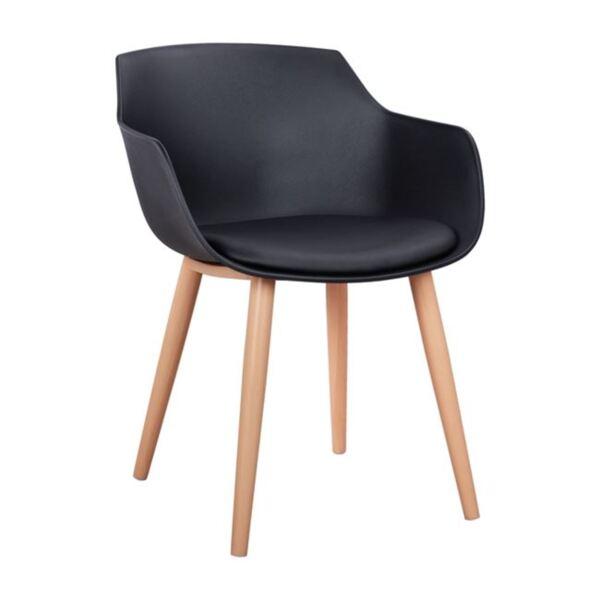 Стол Lucie - Черен с метални крака