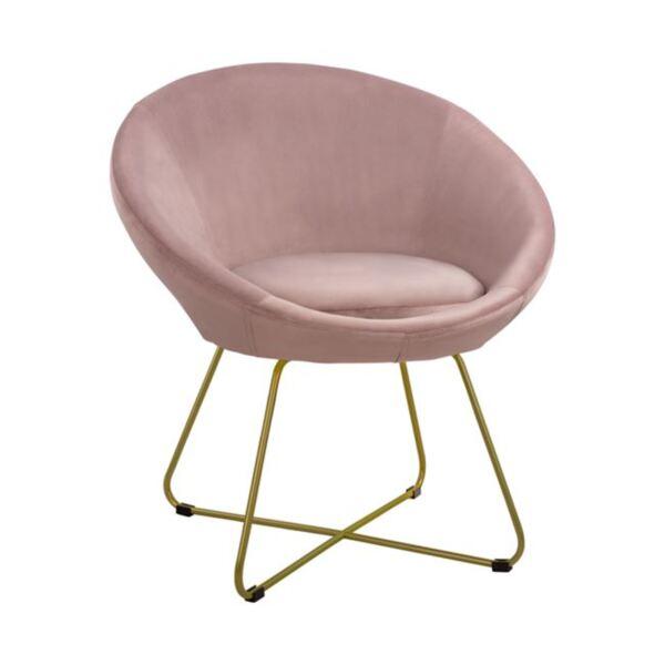 Кресло Ранди с кръстосани крака в розово кадифе