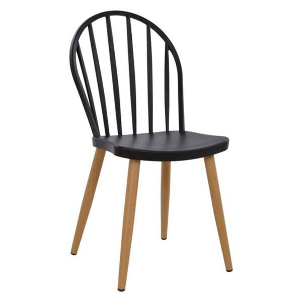 Черен стол с метални крака